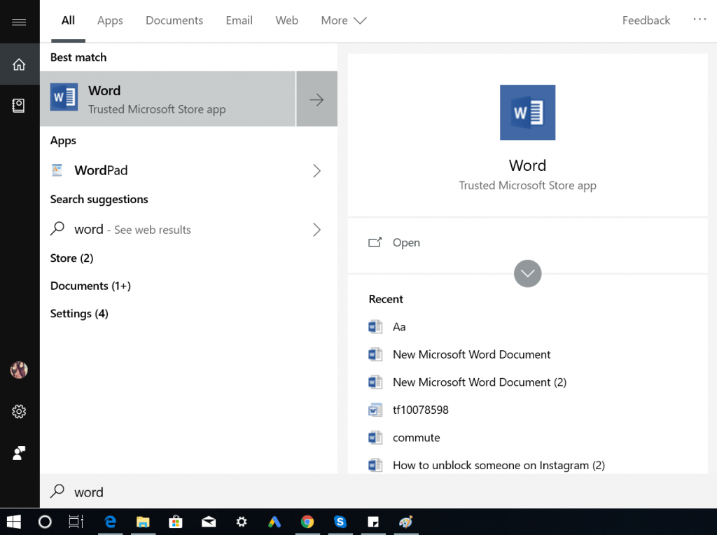 open word using start menu search bar in windows 10