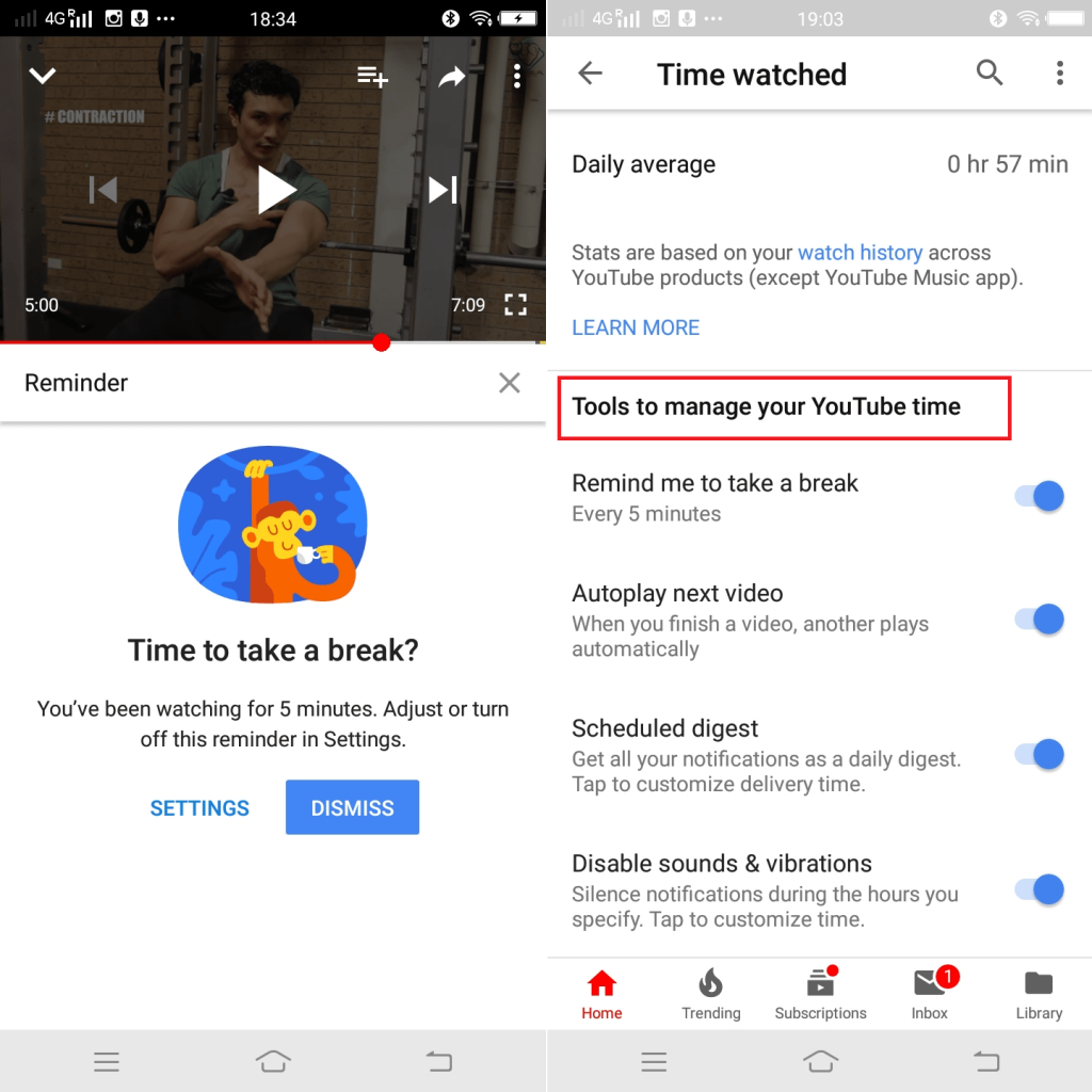 time watched tools in youtube app for android and ios