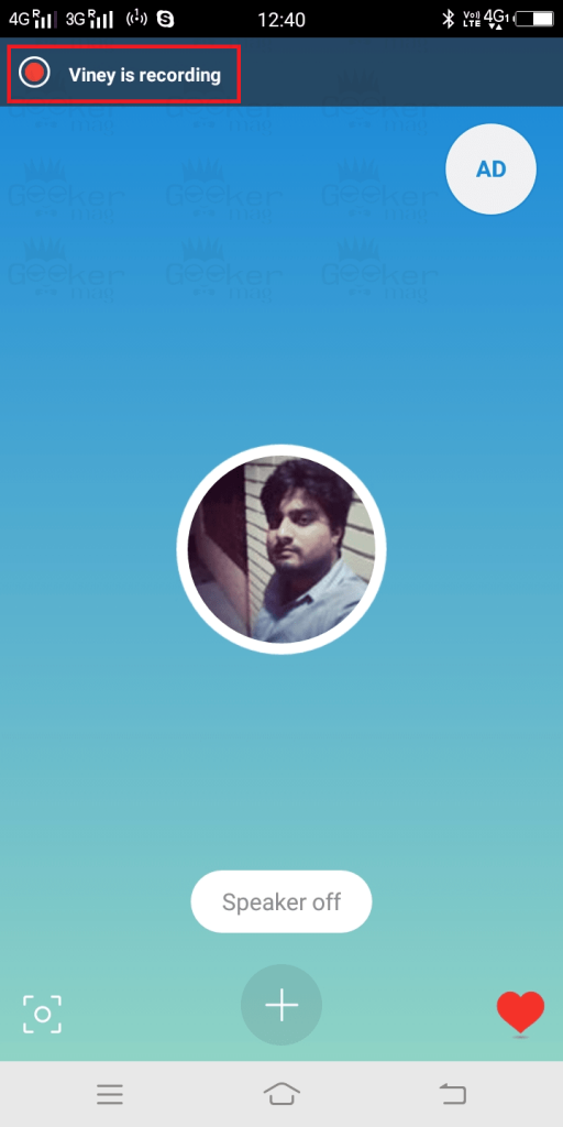 user is recording message on skype for android and ios