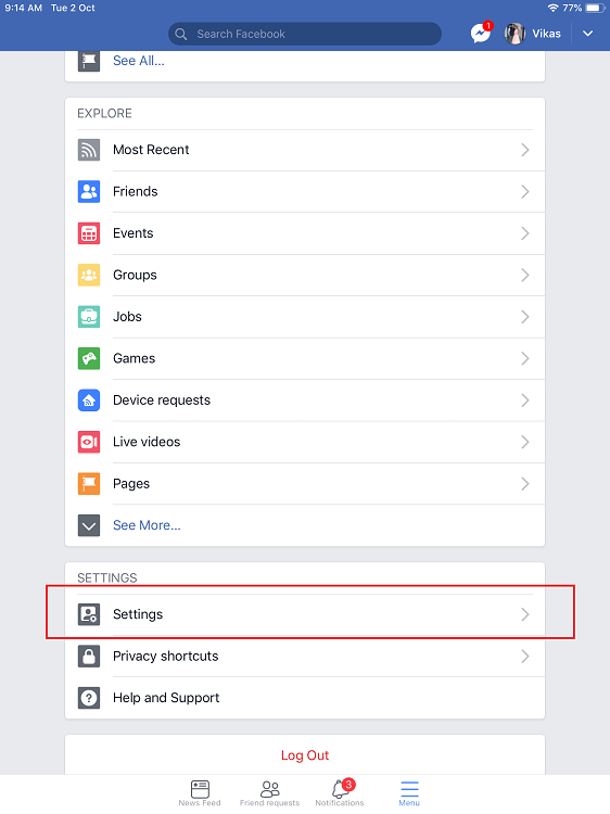 facebook settings-ipad