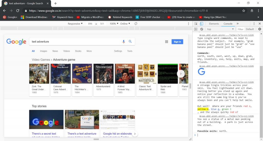 google secret games text adventure