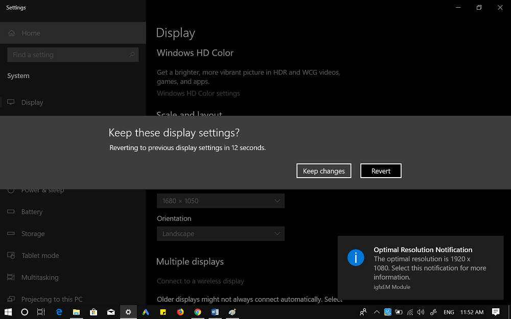 keep display settings in windows 10