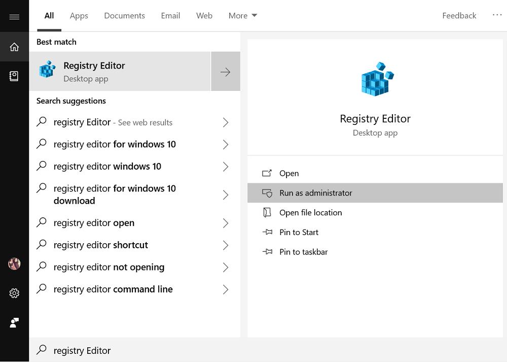 launch registry editor in windows 10
