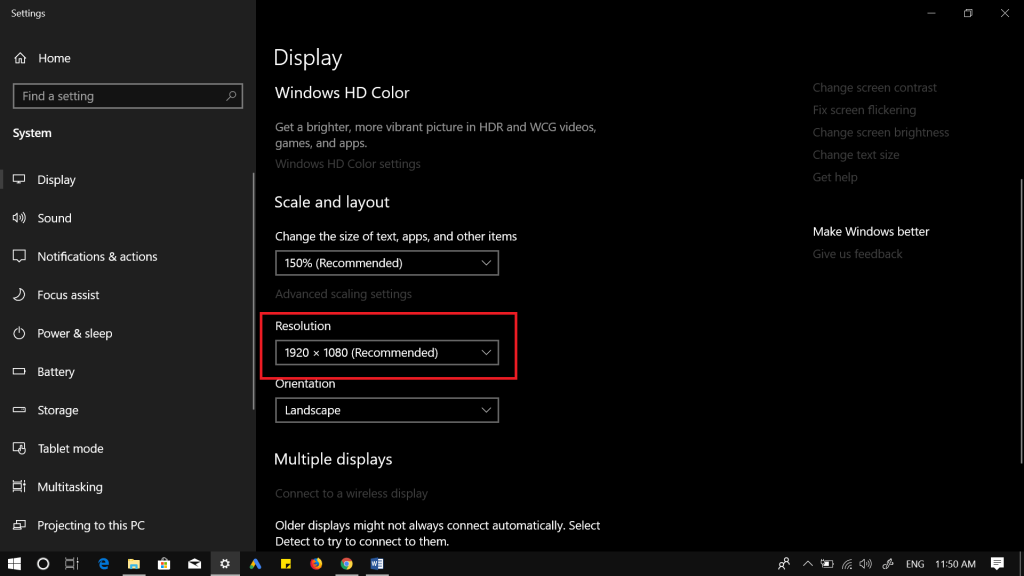windows 10 screen resolution settings