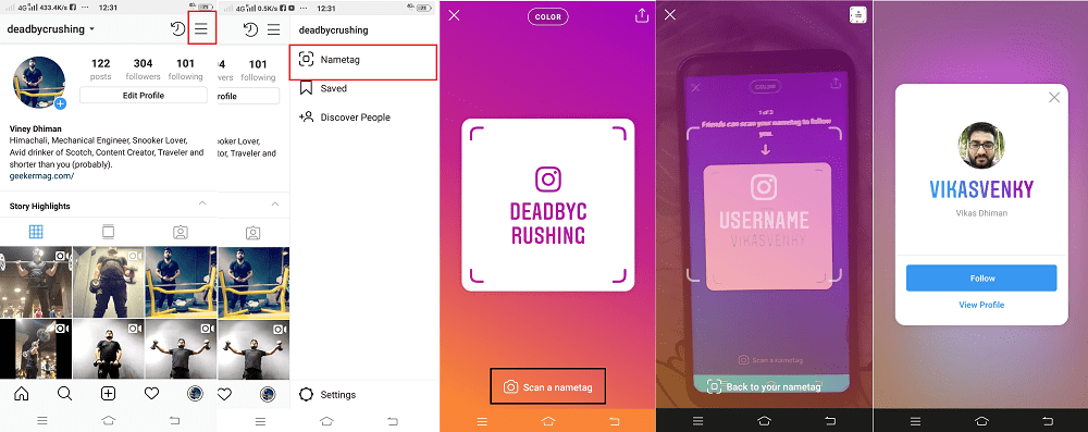 how to add friend using instagram nametag