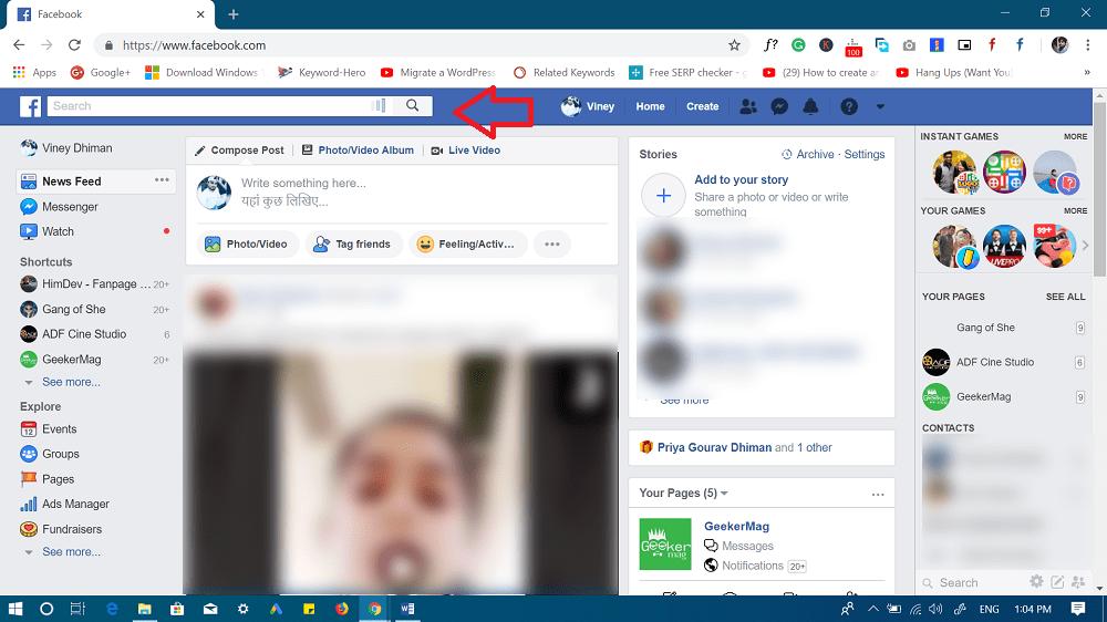 facebook search feature