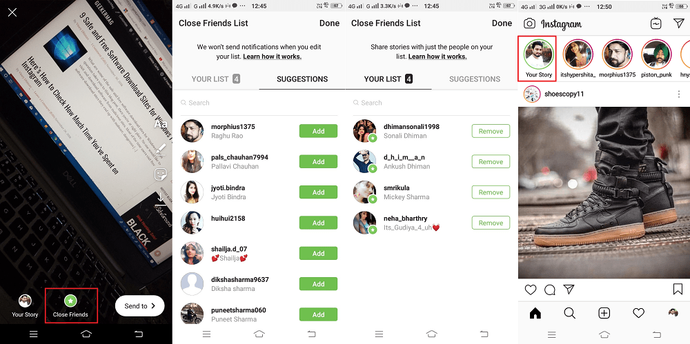 share instagram stories with close friends list