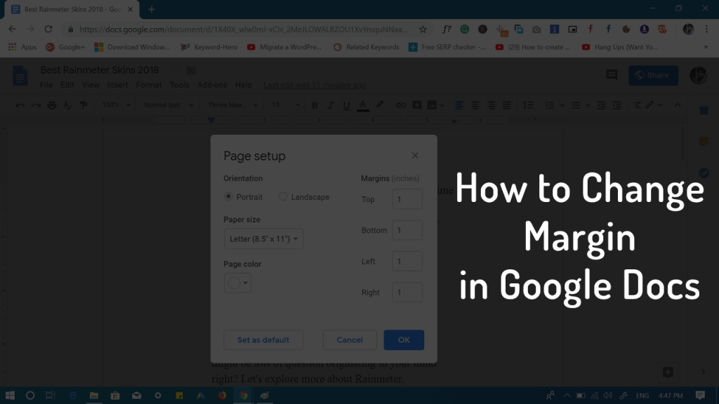how to change margins in google docs - 2019