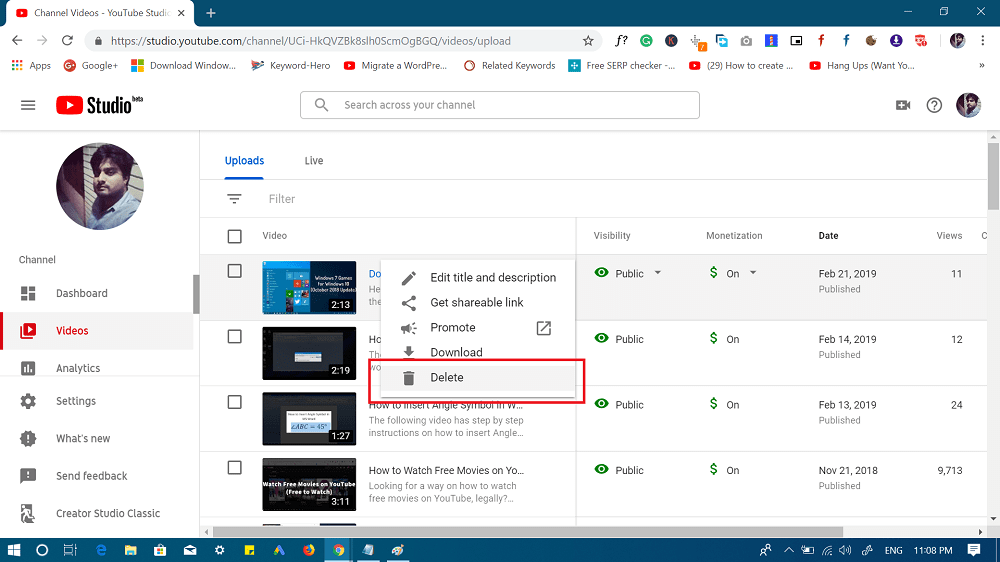 delete youtube video option