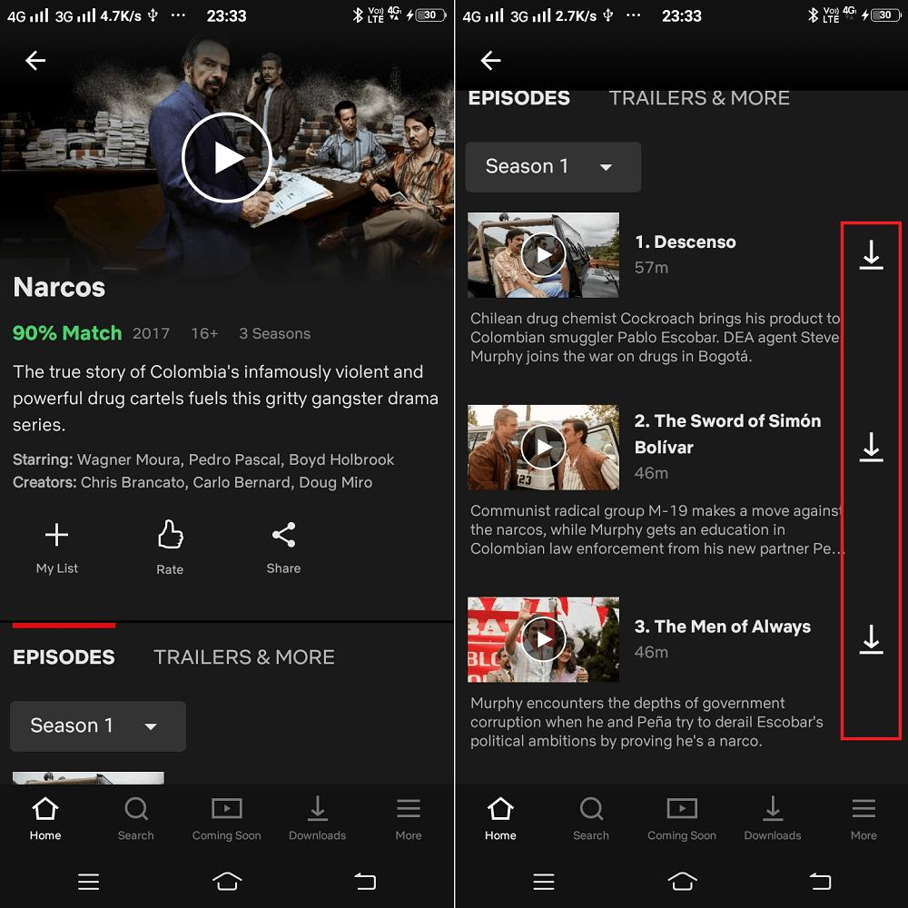 download netflix series episode