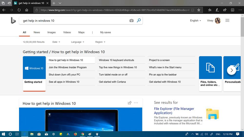 get help in microsoft edge browser
