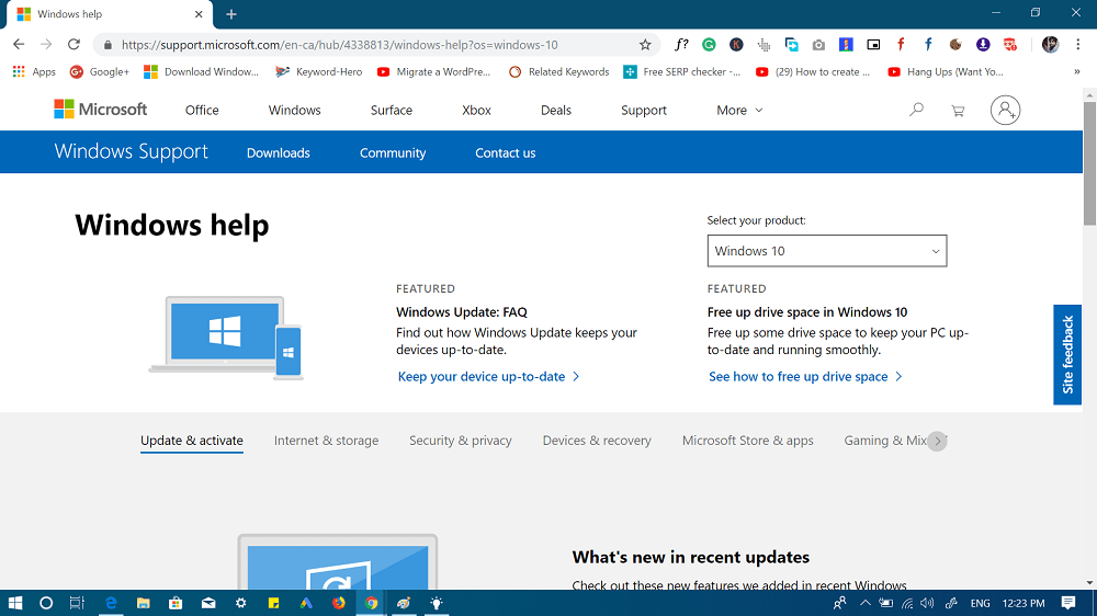 Microsoft support for windows 10
