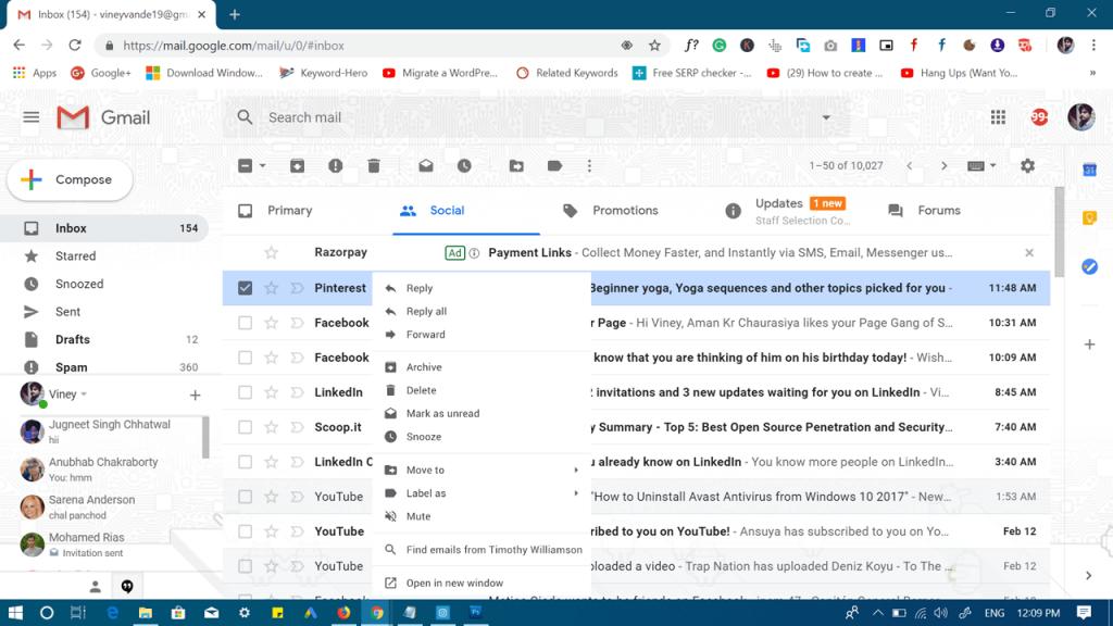gmail right click menu