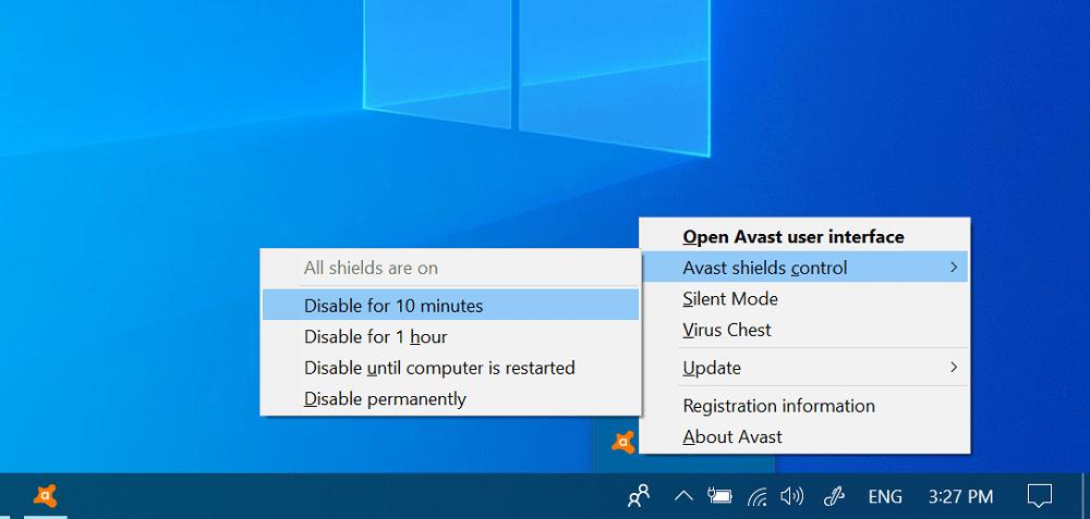 Temporarily disable avast antivirus