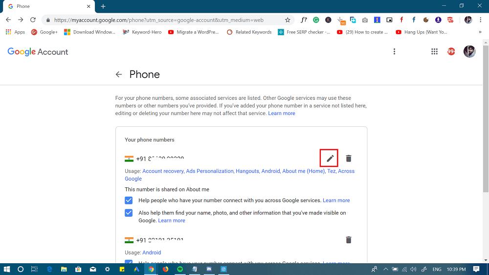 my google account - change phone numeber