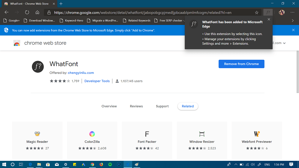 extension added to edge - extension