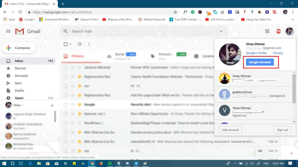 gmail profile icon