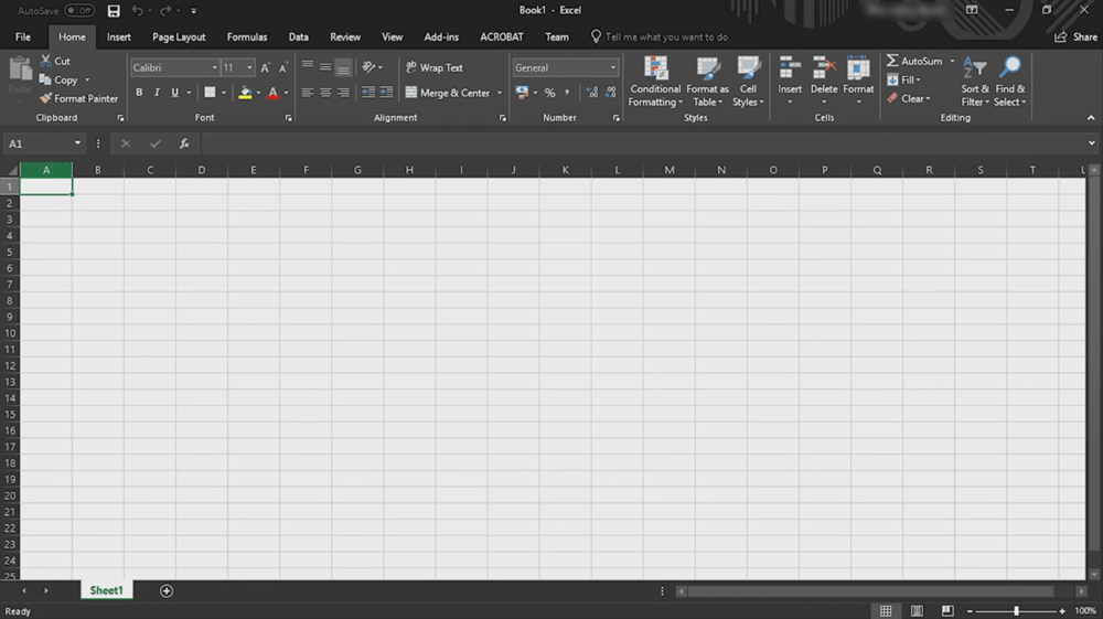 Microsoft Office Excel Dark mode