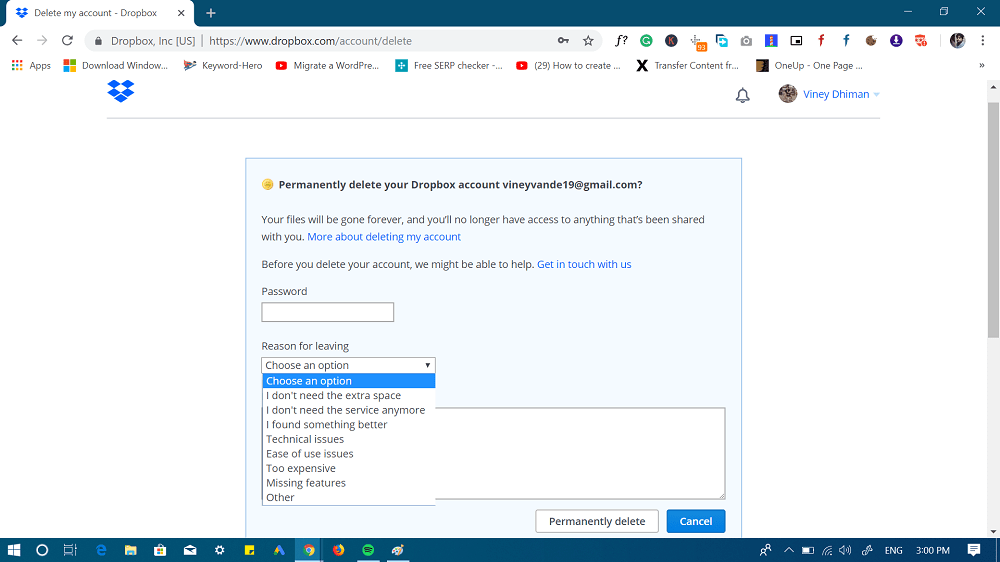 permanently delete dropbox account