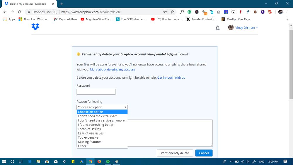 permanently delete dropbox account