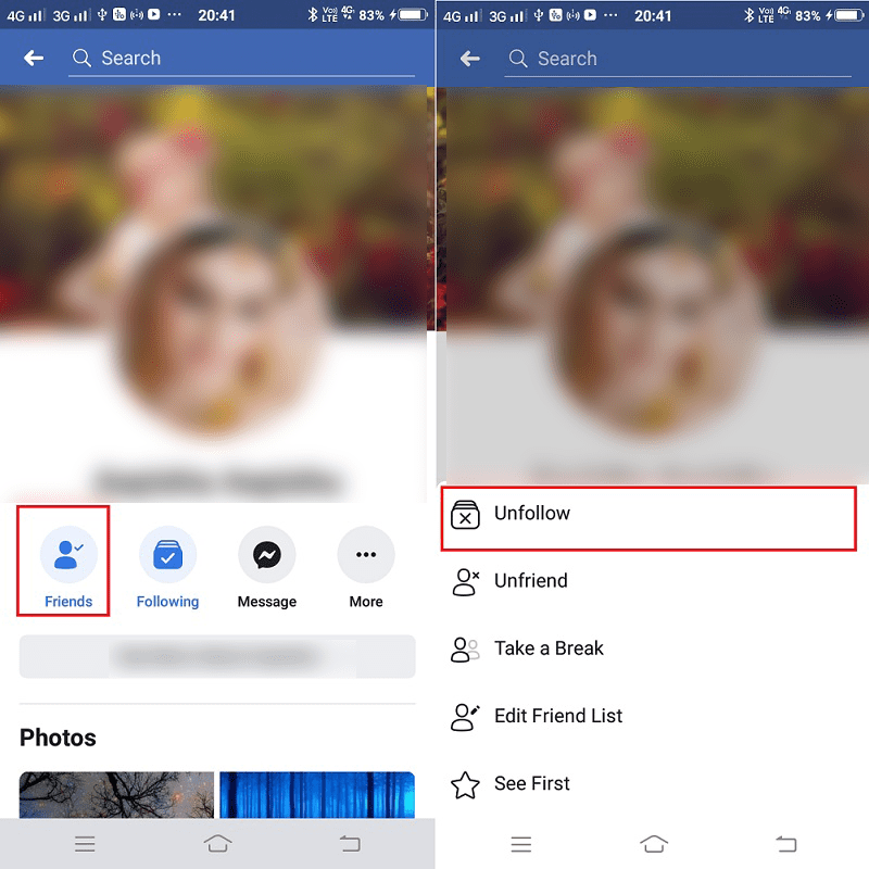 remove friend from facebook