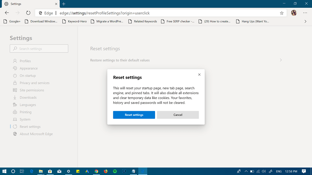 Chromium edge reset settings