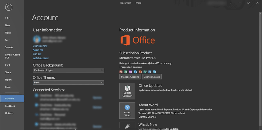 select black theme microsoft offive