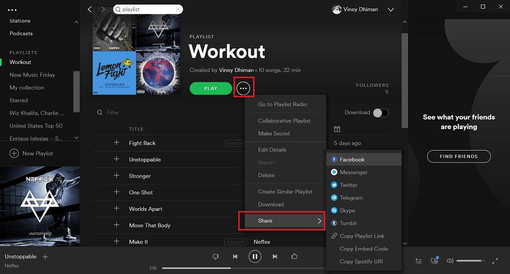 share spotify playlist from desktop app