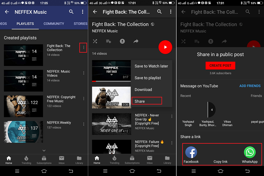 how to share youtube playlist on android and ios app
