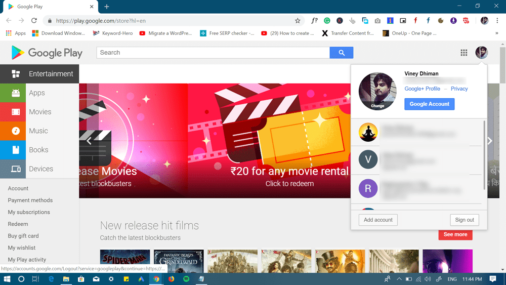 how to logout of google play - web version