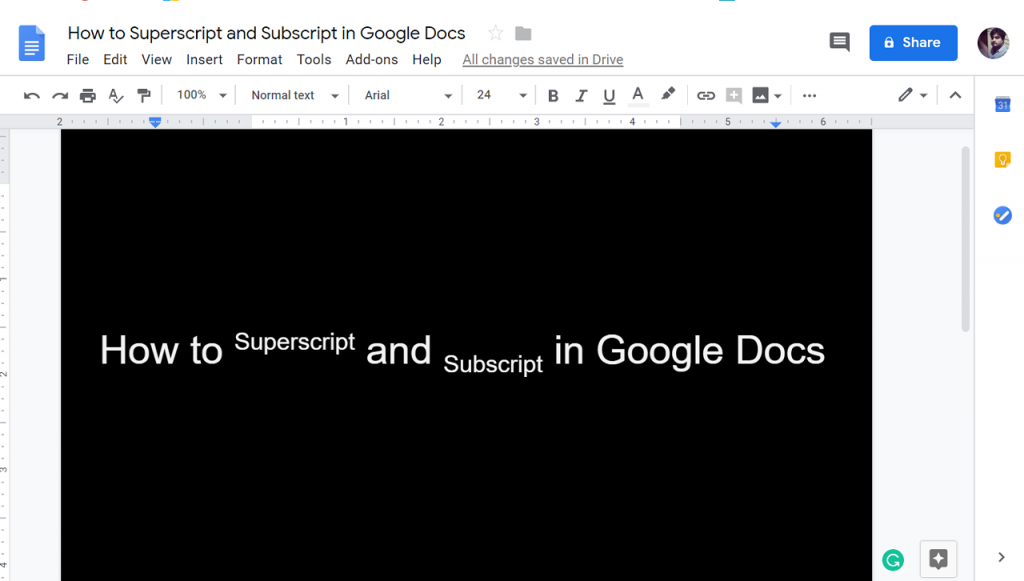 how to do subscript in google docs | how to superscript in google docs