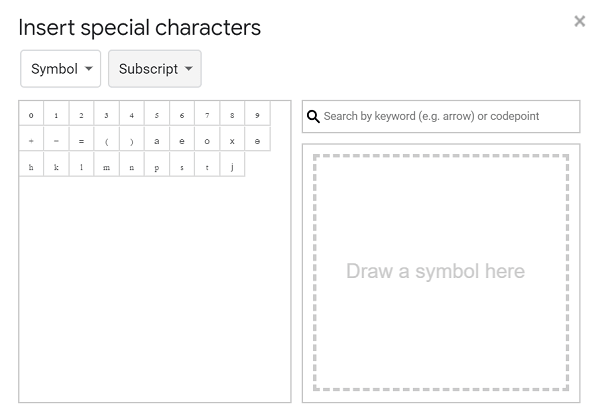 superscript characters in google docs