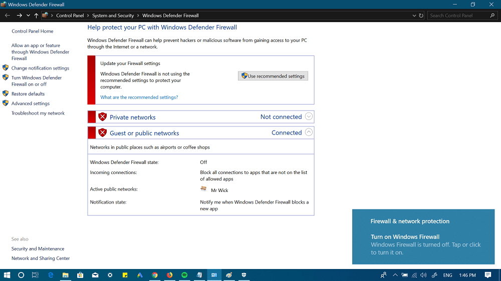 turn off windows defender firewall using control panel