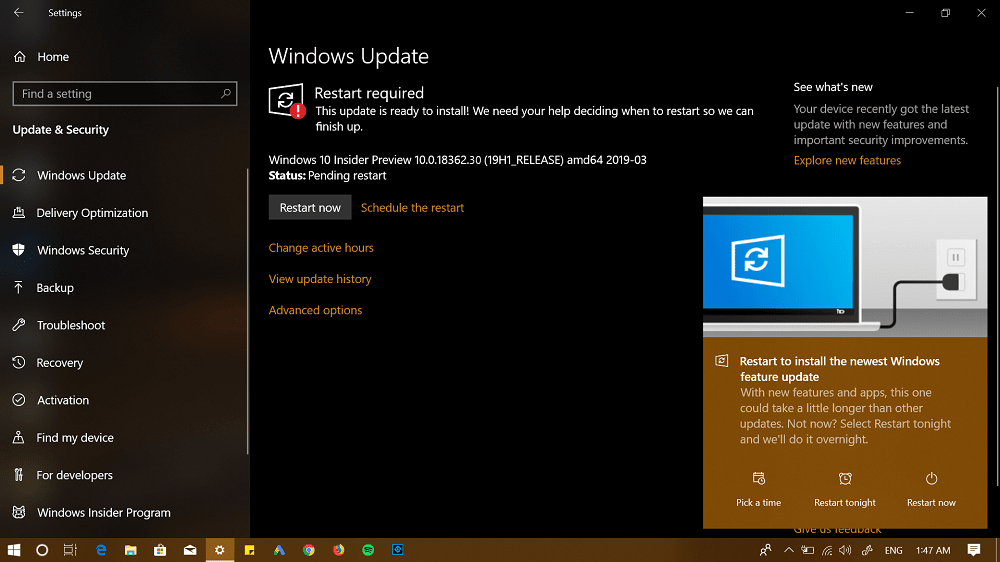 Windows Insider Preview 10.0.18362.30 (19H1_RELEASE)