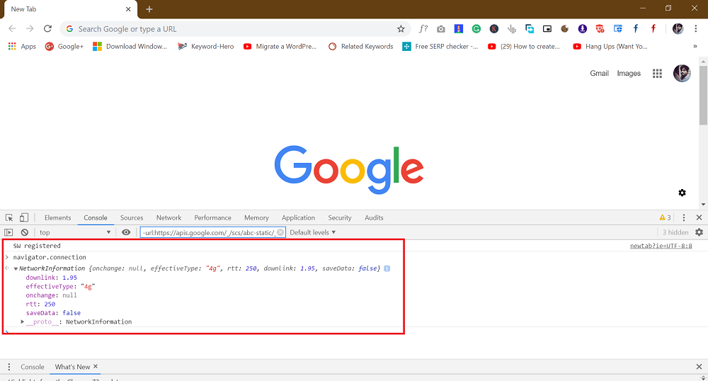 check internet connection speed using Chrome developer tool