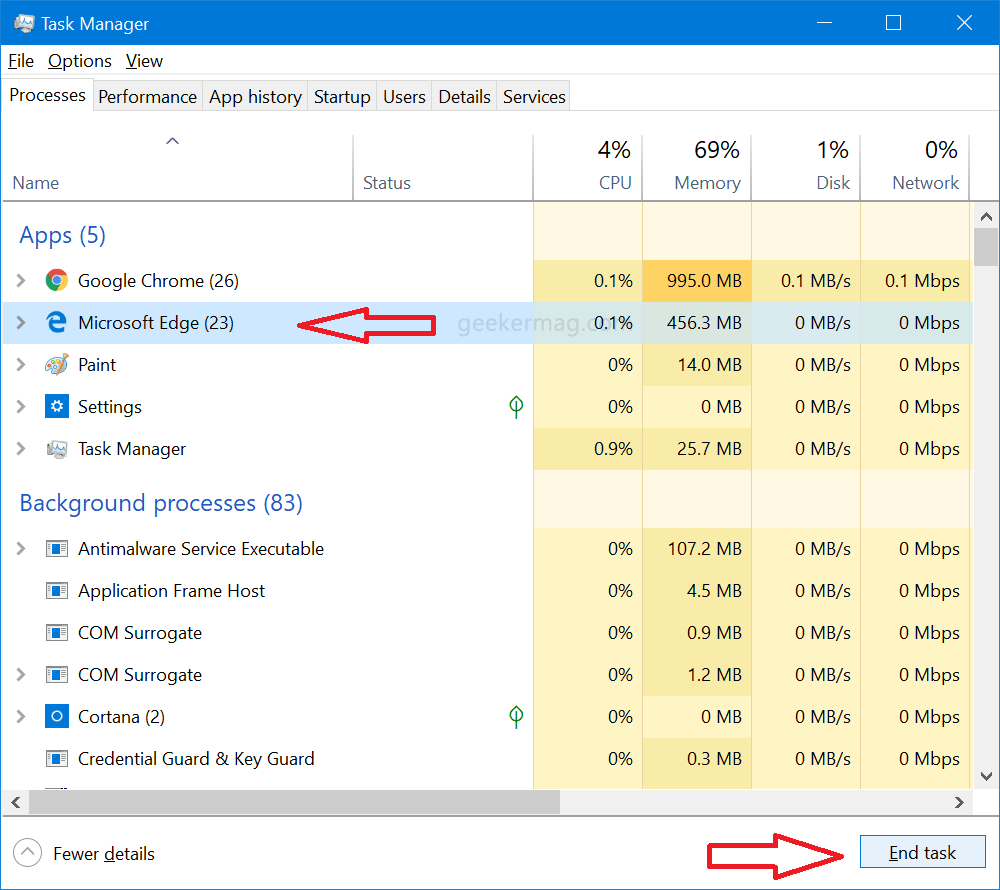 close microsoft edge processess using task manager