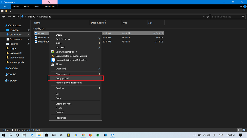 select path of video file in windows 10
