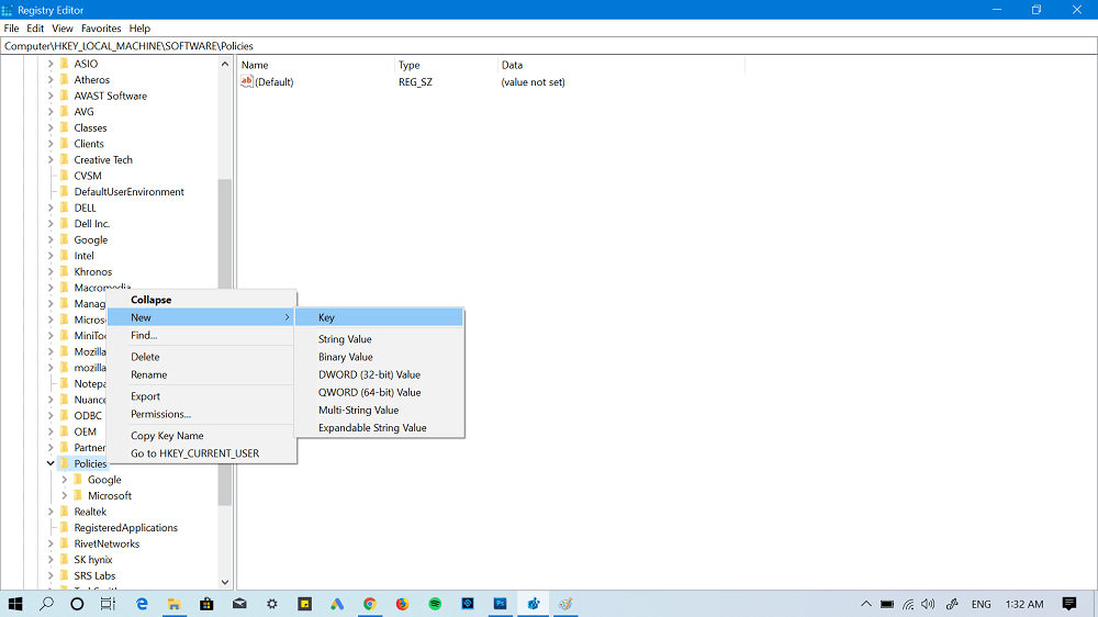 create new key in registry editor