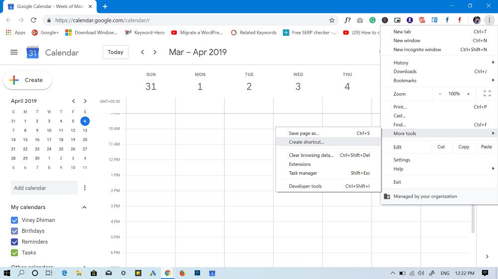 create google calendar shortcut using google chrome