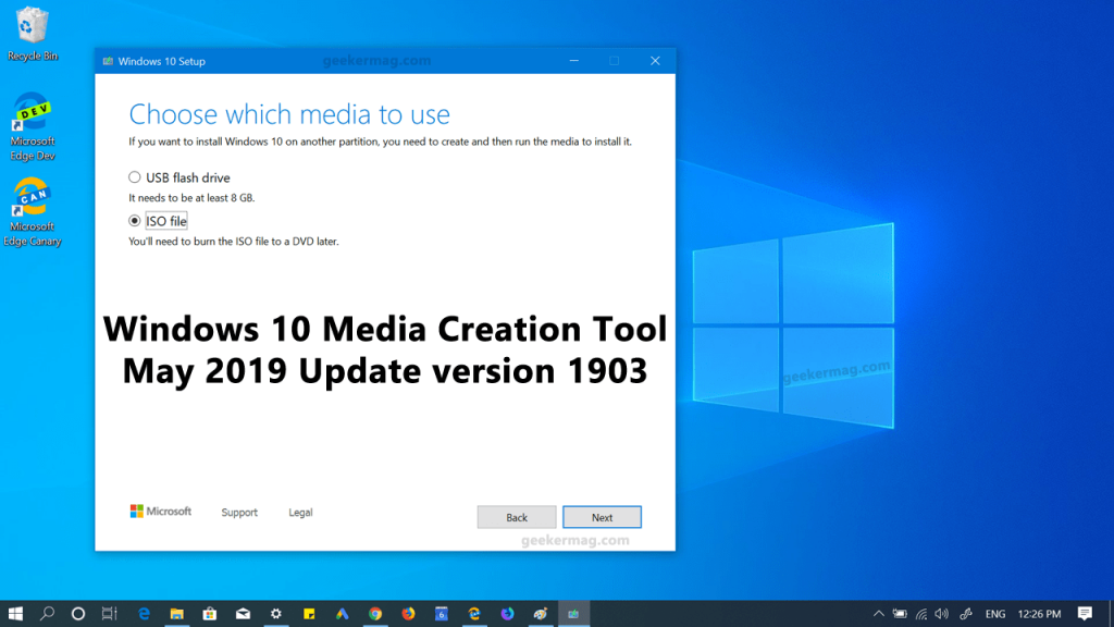 download windows 10 may 2019 update iso using media creation tool