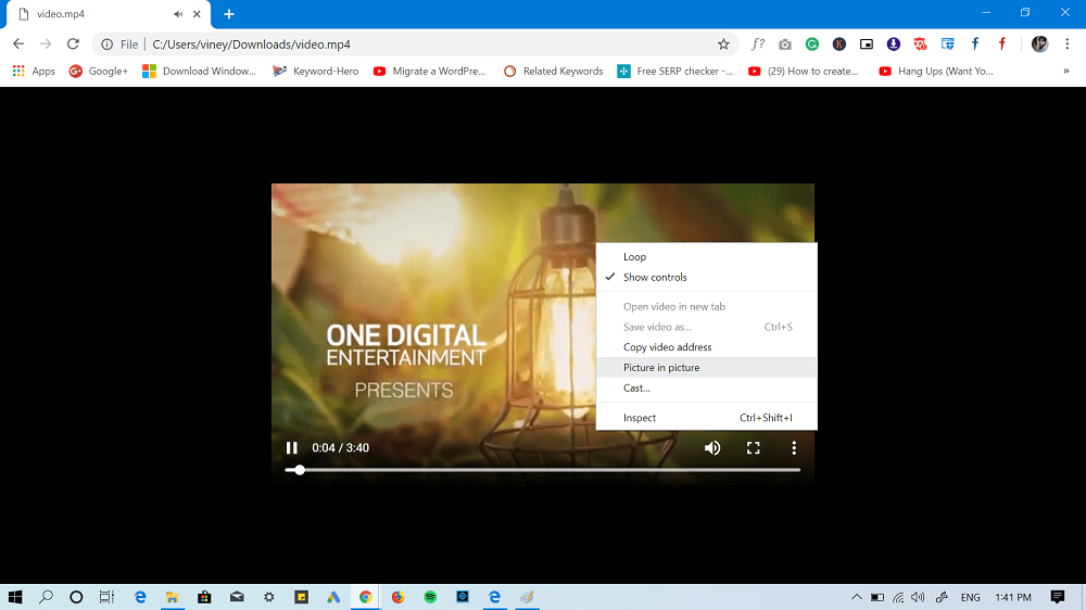 Picture in Picture mode chrome
