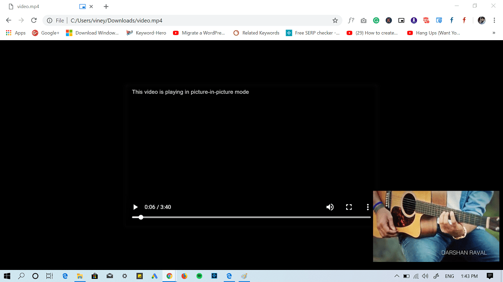 play local video file in chrome pip mode