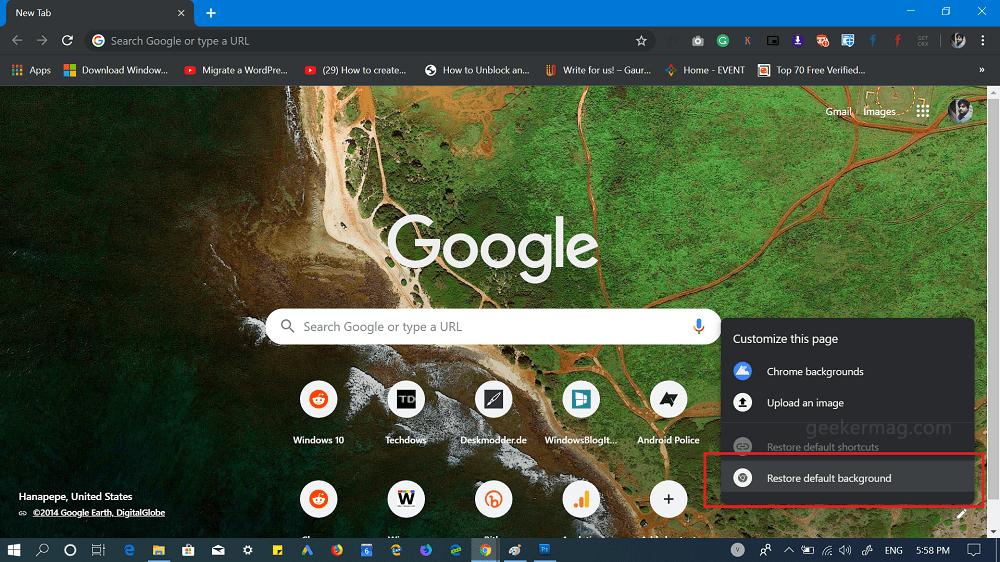chrome 74 - restore default background