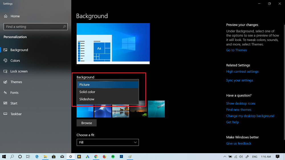 disable windows slideshow in windows 10