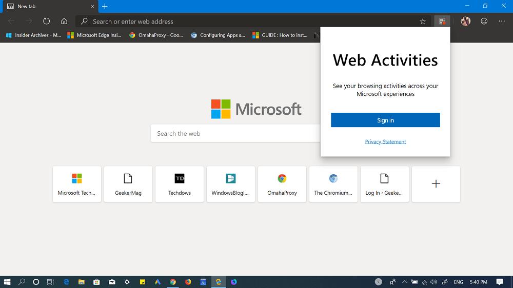 web activities extension in edge