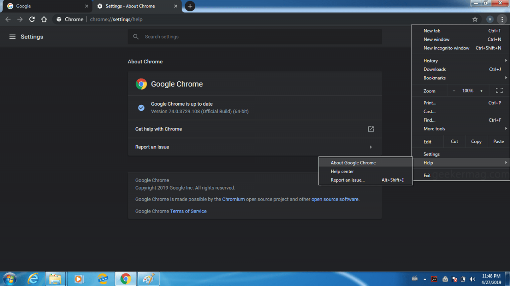 chrome dark mode in windows 7