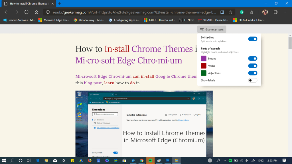 how to use grammar tool in Edge reading view