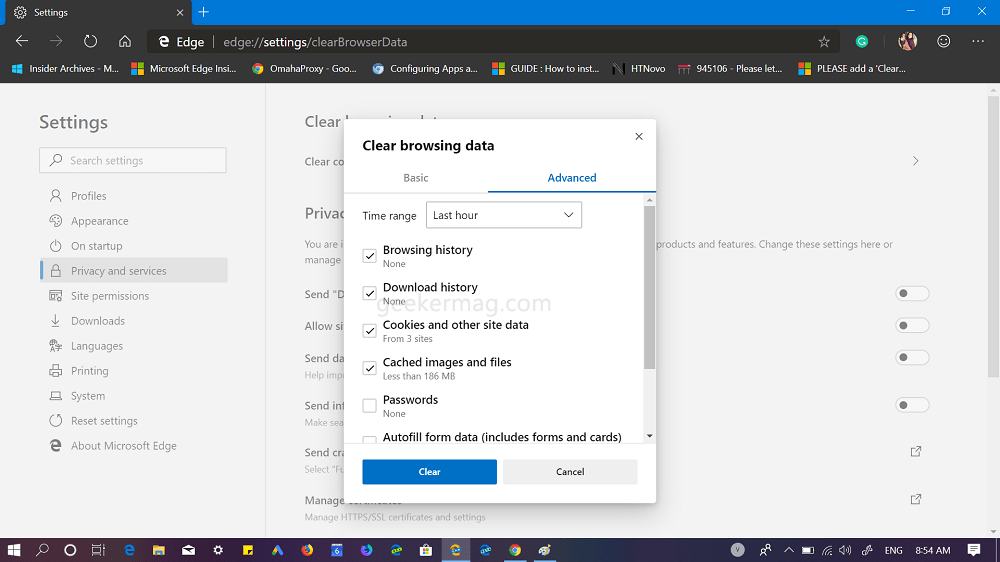 Microsoft edge default clear browsing data dialog box