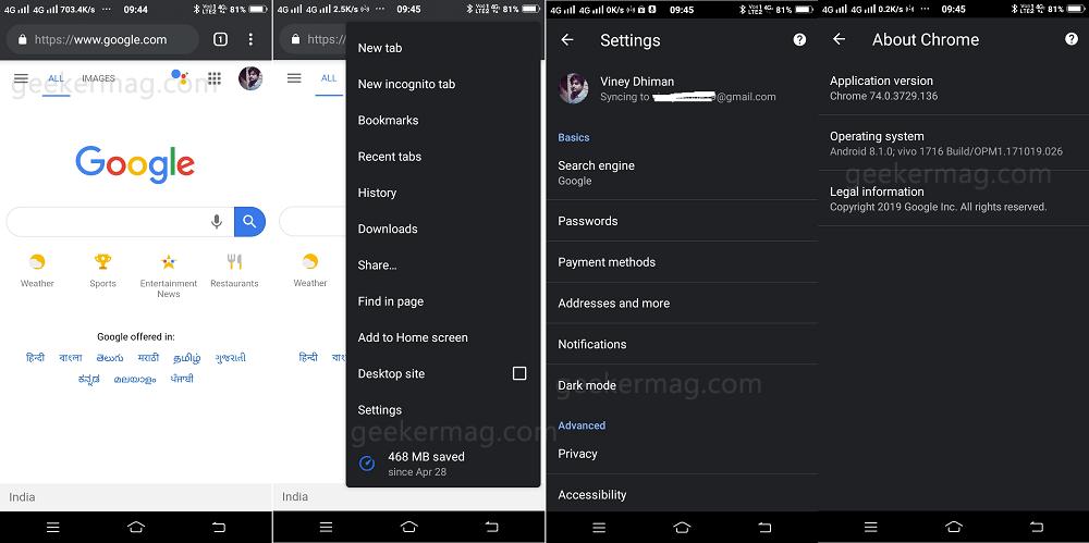 chrome dark mode for android