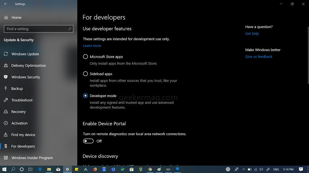 enable developer mode in windows 10